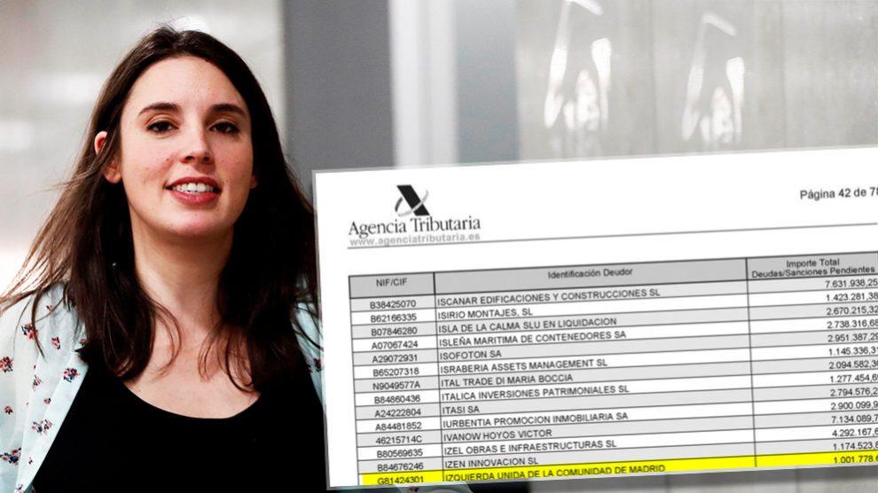Irene Montero, portavoz de Podemos, junto al dinero que debe IU a Hacienda en la Comunidad de Madrid