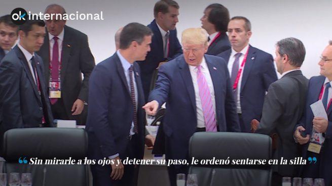 Trump le ordenó sentarse, y se sentó. La sumisión de Pedro Sánchez