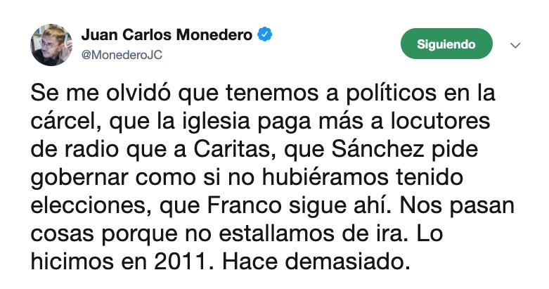 Tuit de Juan Carlos Monedero @Twitter