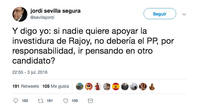 Mensaje publicado por el ex ministro Jordi Sevilla en julio de 2016