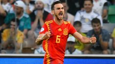 Fabián Ruiz celebra su gol ante Alemania. (Getty)