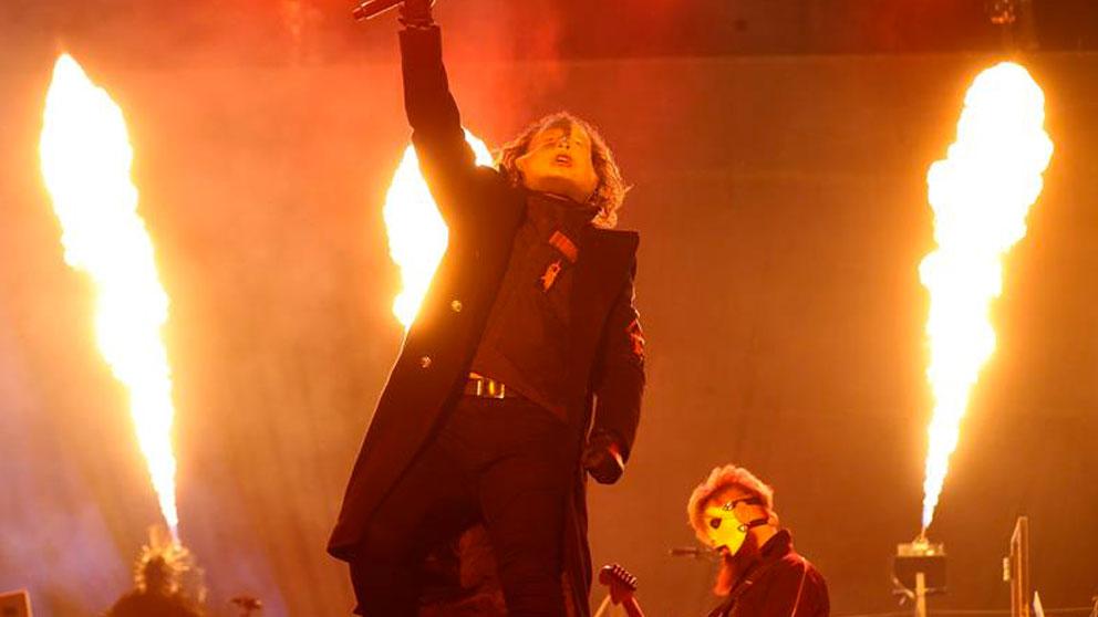 El grupo estadounidense de metal alternativo, Slipknot, durante su actuación este sábado en la tercera jornada del Download Festival 2019 que se celebra en los exteriores de la Caja Mágica de Madrid. Foto: EFE