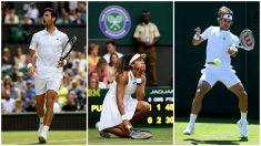 Djokovic, Osaka y Feliciano, protagonistas de la primera jornada de Wimbledon. (Getty)