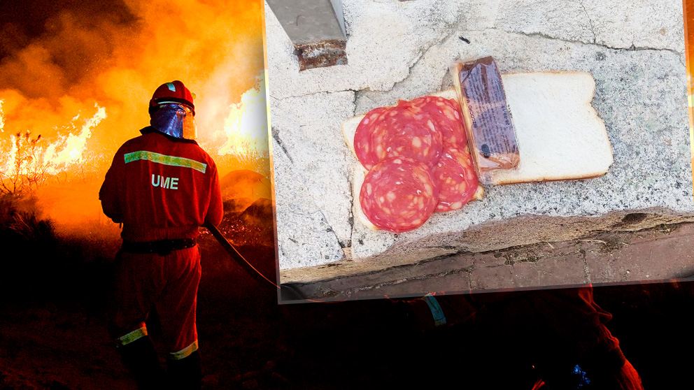 El almuerzo que han recibido los militares de la UME que luchan contra incendios en toda España.