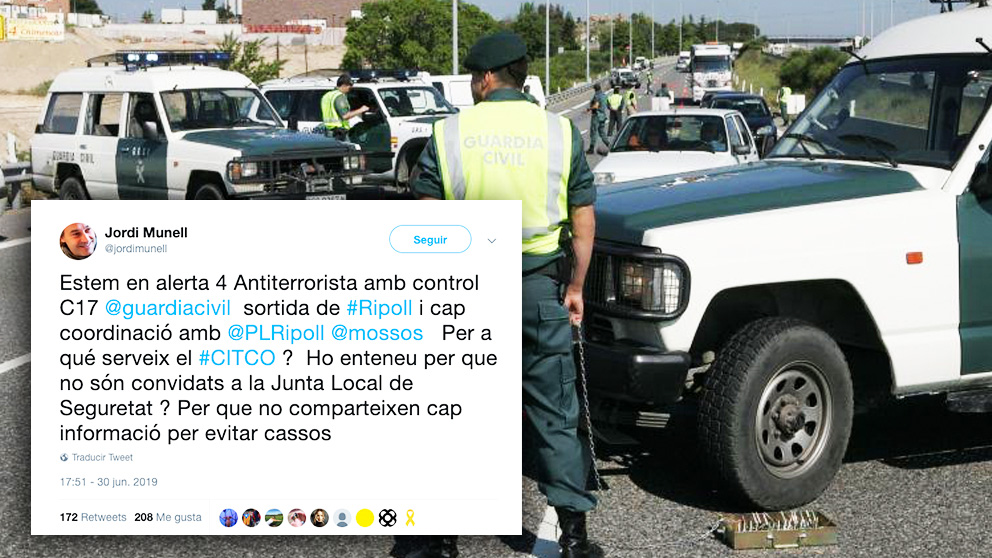 Control antiterrorista de la Guardia Civil.