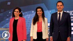 Isabel Díaz Ayuso, Rocío Monasterio e Ignacio Aguado, en un debate electoral. (Foto: EFE)
