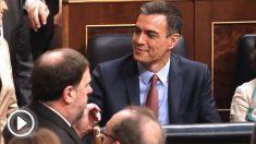 Oriol Junqueras y Pedro Sánchez, en el Congreso.