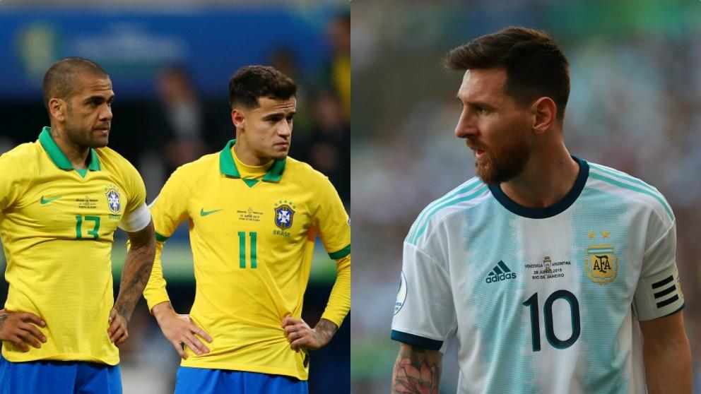 Dani Alves, Philippe Coutinho y Leo Messi.