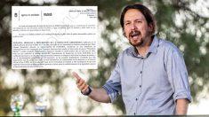 Pablo Iglesias y el informe municipal. (Foto. Podemos)
