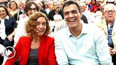 Meritxell Batet y Pedro Sánchez este sábado en Hospitalet (Foto: Efe).