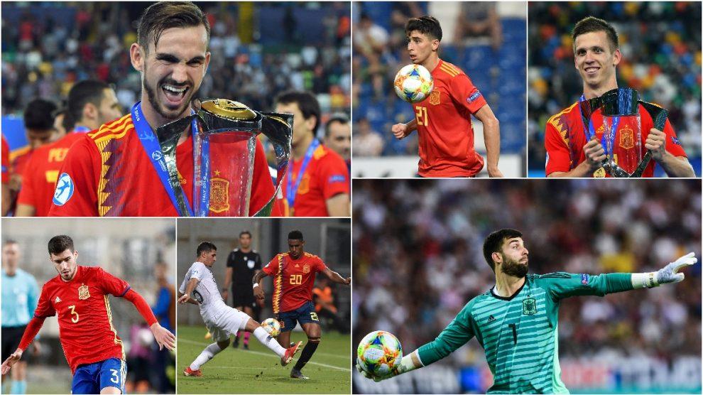 Fabián, Roca, Olmo, Aarón, Junior y Sivera, seguidos por el Real Madrid.