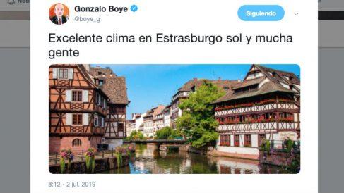 El tuit de Gonzalo Boye con el que pretende engañar con la presencia de Carles Puigdemont en Estrasburgo.