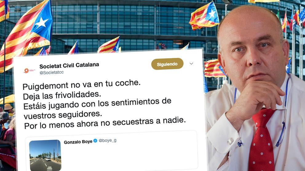 Gonzalo Boye, abogado de Carles Puigdemont, y una de las respuestas de Societat Civil Catalana a uno de sus tuits.