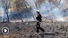 Un bombero vigila la zona calcinada por el incendio declarado en la localidad toledana de Almorox el pasado miércoles. Foto: EP