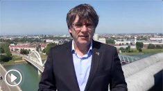 El mensaje grabado de Carles Puigdemont dirigido a los separatistas que habían acudido a apoyarle a Estrasburgo (Francia)