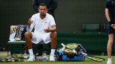 Kyrgios, en su encuentro en Wimbledon. (Getty)