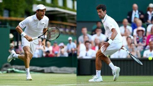 Roberto Bautista y Novak Djokovic, en Wimbledon. (Getty)
