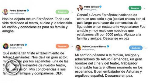 Tuits de los políticos en homenaje a Arturo Fernández tras su fallecimiento.