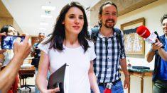 Pablo Iglesias e Irene Montero, en el Congreso de los Diputados.
