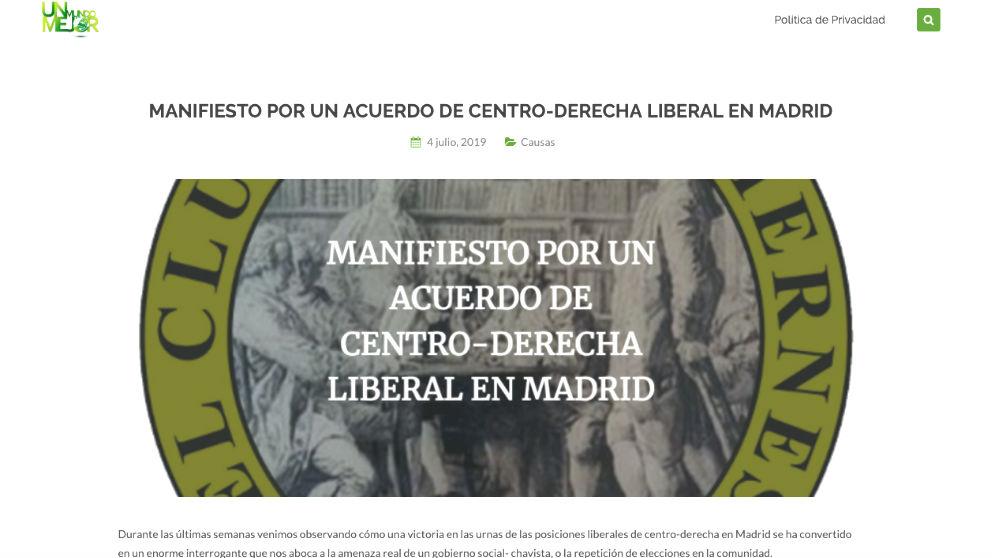 El «Manifiesto por un acuerdo de centroderecha liberal en Madrid» colgado para recoger firmas.