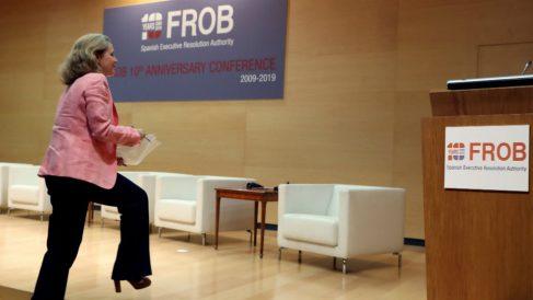 Nadia Calviño, este viernes en el acto del FROB en el Ministerio de Economía