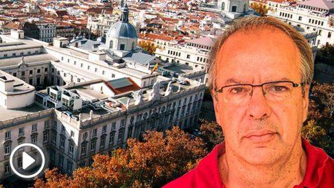 La sede del Tribunal Supremo, junto una imagen del cuñado de Artur Mas, Joan Antoni Rakosnik.