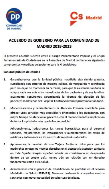 Documento firmado entre PP y Ciudadanos para la Comunidad de Madrid. (Clic para descargar)