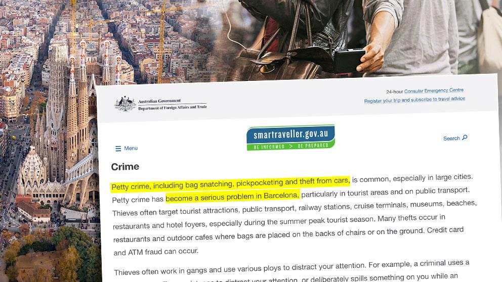Aviso del gobierno de Australia sobre la inseguridad en Barcelona.