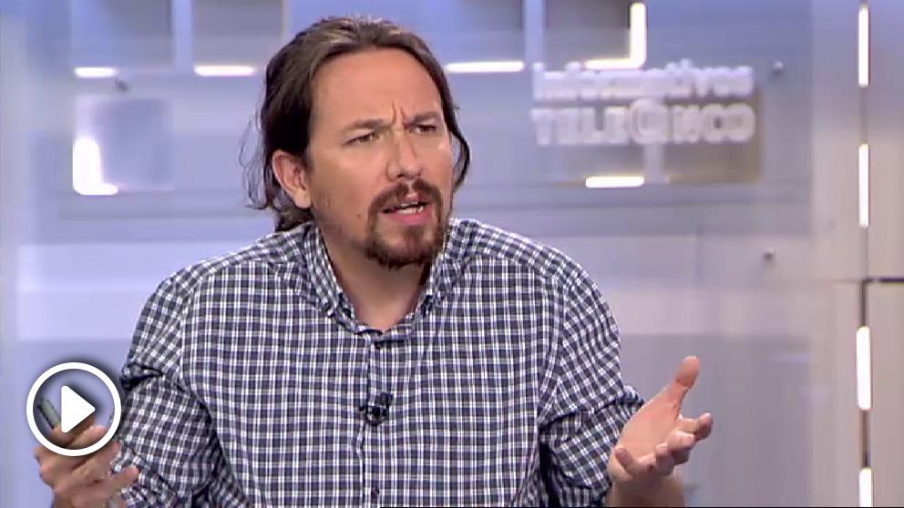 Pablo Iglesias durante su entrevista en Telecinco.