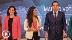 Isabel Díaz Ayuso, Rocio Monasterio e Ignacio Aguado. (Foto. EP)