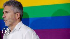 El ministro del Interior en funciones, Fernando Grande-Marlaska, interviene en el acto de bienvenida a las delegaciones LGTBI del PSOE que llegan a Madrid para participar en la manifestación del Orgullo. Foto: EFE