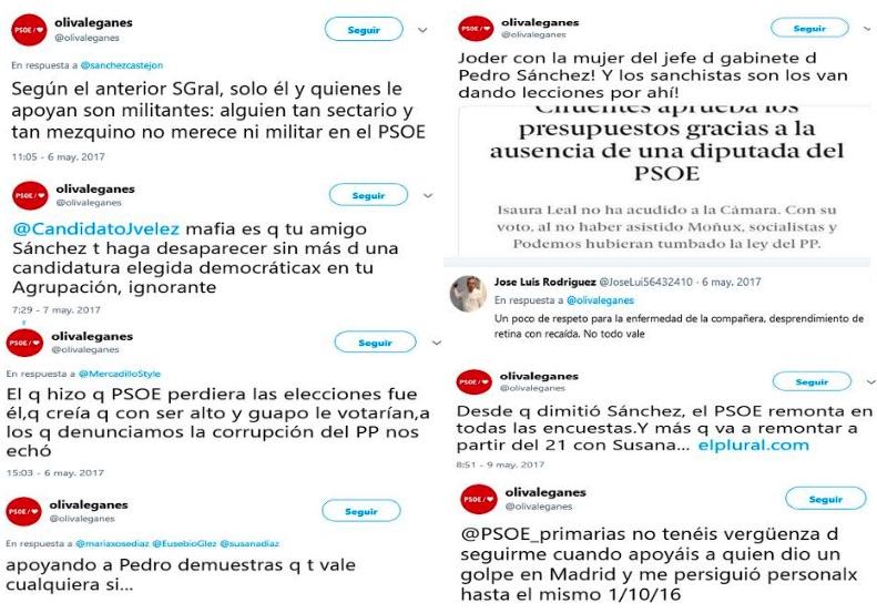Alguno de los polémicos tuits de Laura Oliva.