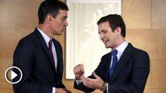 Pablo Casado y Pedro Sánchez antes de su reunión en el Congreso