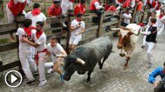 Imagen del tercer encierro de San Fermín.