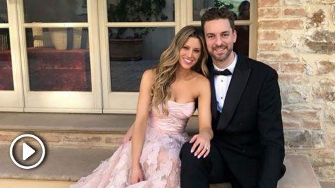 Pau Gasol, junto a su prometida en una boda reciente. (Instagram)