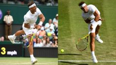 Nadal sirve en Wimbledon. (Getty)