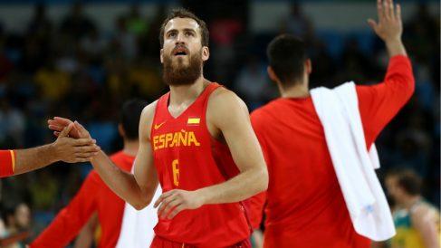 Sergio Rodríguez, en un partido con España. (Getty)