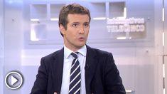 Pablo Casado durante la entrevista en Telecinco