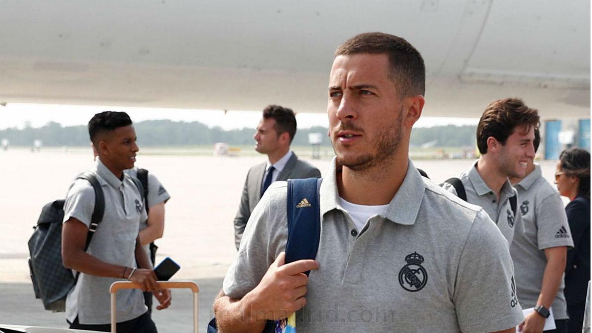 Eden Hazard, en un viaje con el Real Madrid.