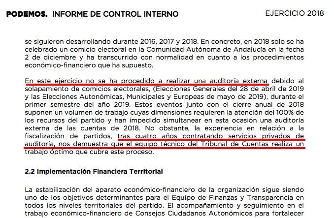Informe de control de Podemos donde habla de la auditoria no realizada. (Clic para ampliar)