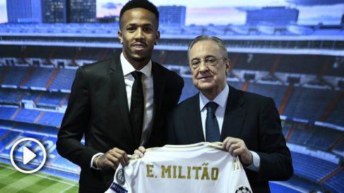 Militao, presentado como nuevo jugador del Madrid. (AFP)