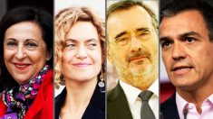Margarita Robles, Meritxell Batet, Juan Cruz y Pedro Sánchez