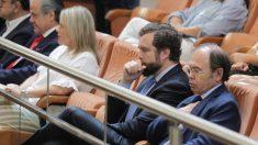 El portavoz de VOX en el Congreso de los Diputados, Iván Espinosa de los Monteros (c), el presidente del Partido Popular en Madrid, Pío García-Escudero, y la vicesecretaria regional Marimar Blanco, asisten a la sesión de investidura en la Asamblea de Madrid. (Foto: Francisco Toledo/Okdiario)