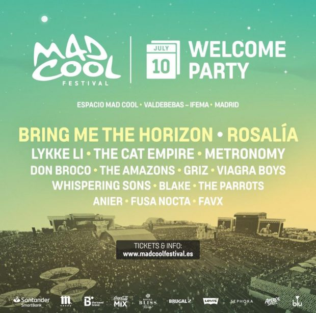 Cartel de la 'Welcome Party' de Mad Cool, que inaugura así su cuarta edición en el recinto de Valdebebas.