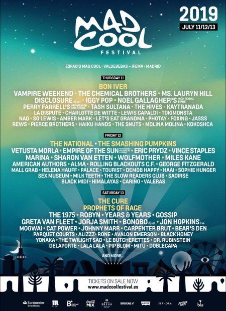 Cartel completo de la edición 2019 del festival Mad Cool.