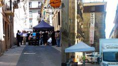 A la izquierda, Woody Allen en el set de rodaje en San Sebastián. A la derecha, la pancarta colgada en las inmediaciones: «Woody vete a casa» se puede leer en inglés.