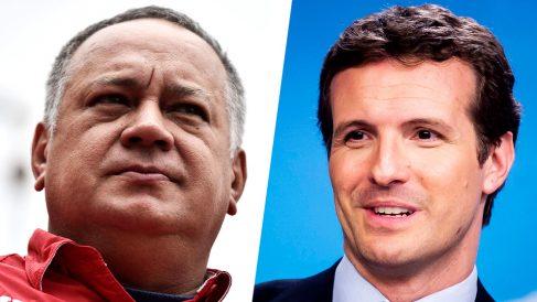 El dirigente venezolano chavista, Diosdado Cabello, y el líder del Partido Popular, Pablo Casado.