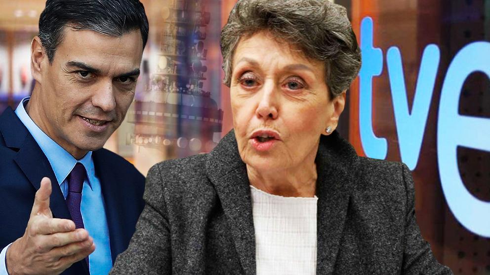 Pedro Sánchez, presidente del Gobierno, y Rosa María Mateo, administradora única de RTVE.