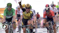 Dylan Groenewegen celebra su triunfo en la séptima etapa del Tour de Francia. (AFP)