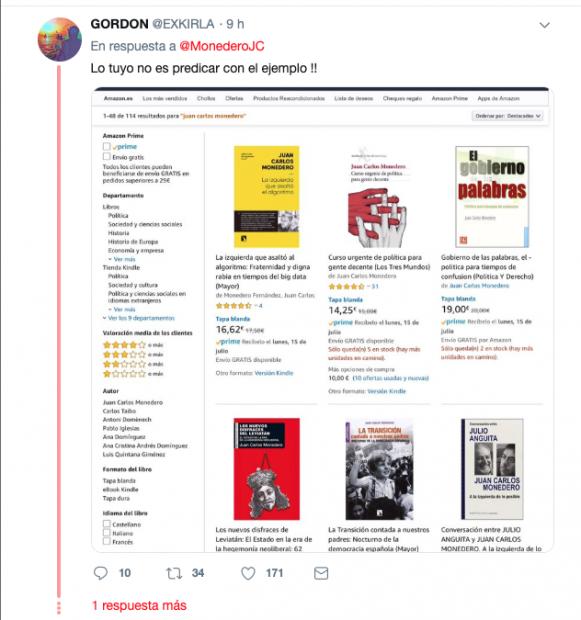 Juan Carlos Monedero comprar por internet antipatriota amazon